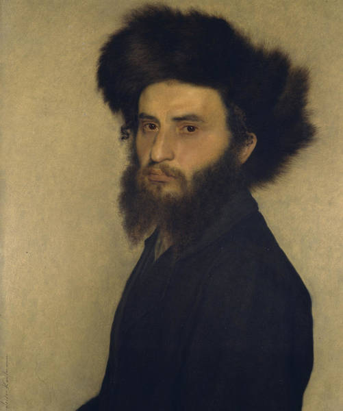 Mustache Painting - Portrait Of A Young Jewish Man  by Isidor Kaufmann