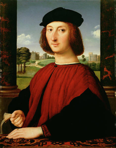 Wall Art - Painting - Portrait Of A Young Man In Red Circle Of Raphael Raffaello by Litz Collection