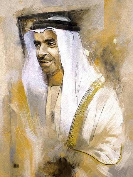 Bin Wall Art - Painting - Portrait Of Abdullah Bin Zayed Al Nahyen 3 by Maryam Mughal