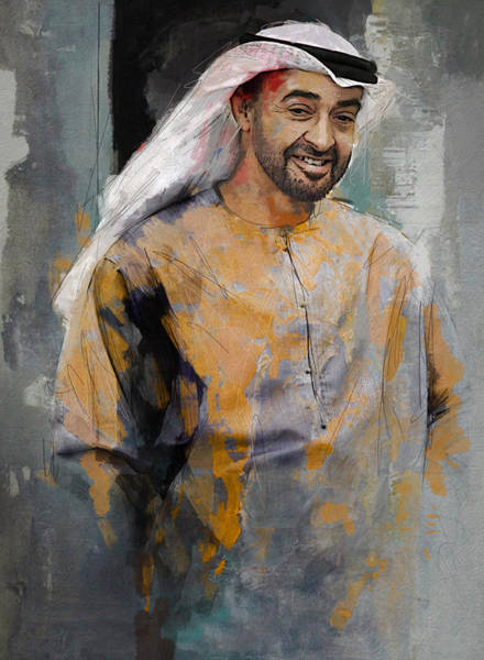 Bin Wall Art - Painting - Portrait Of Abdullah Bin Zayed Al Nahyen 5 by Maryam Mughal