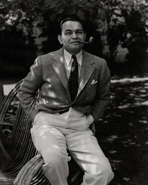 Wicker Chair Photograph - Portrait Of Actor Edward G. Robinson by William Bolin