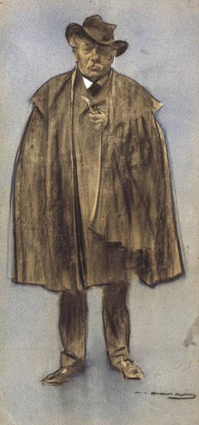 Chestnut Hair Drawing - Portrait Of Albert De Sicilia Llanas by Ramon Casas
