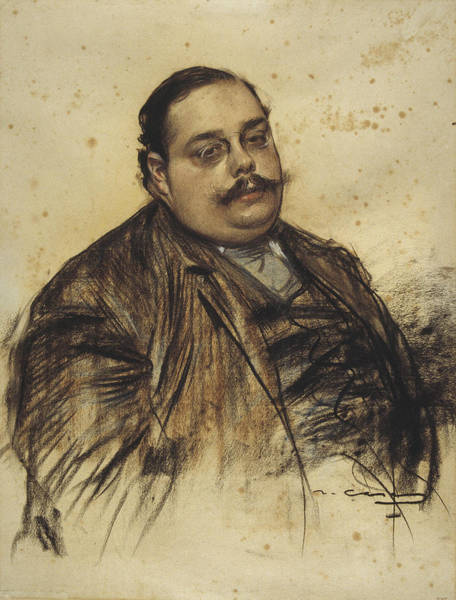 Chestnut Hair Drawing - Portrait Of Albert Roquer by Ramon Casas