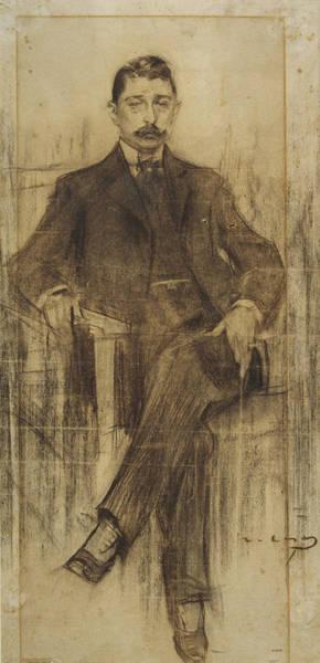 Chestnut Hair Drawing - Portrait Of Albert Rusinol by Ramon Casas