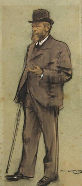 Chestnut Hair Drawing - Portrait Of Albrecht De Vriendt by Ramon Casas