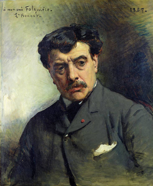 Moustaches Photograph - Portrait Of Alexander Falguiere 1831-1900 1887 Oil On Canvas by Leon Joseph Florentin Bonnat