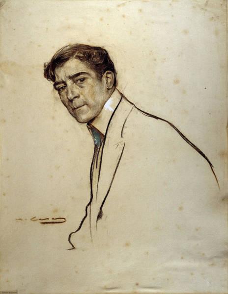 Chestnut Hair Drawing - Portrait Of Alexandre De Riquer by Ramon Casas