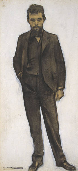 Chestnut Hair Drawing - Portrait Of Amadeu Vives by Ramon Casas