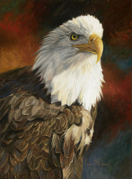 Close Painting - Portrait Of An Eagle by Lucie Bilodeau