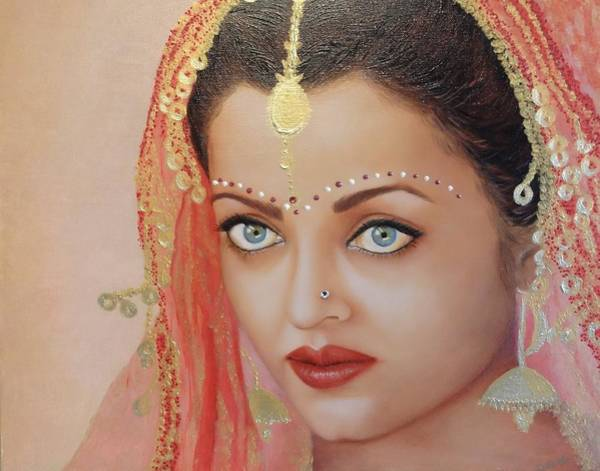 Bollywood Wall Art - Painting - Portrait Of An Indian Bride by Nersel Zur Muehlen