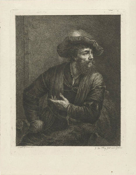 Top Gear Wall Art - Drawing - Portrait Of An Unknown Man With Feathered Beret by Johannes Pieter De Frey