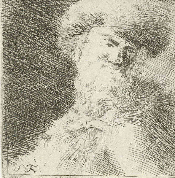 Mens Clothing Wall Art - Drawing - Portrait Of An Unknown Man With Fur Hat, Simon Klapmuts by Simon Klapmuts