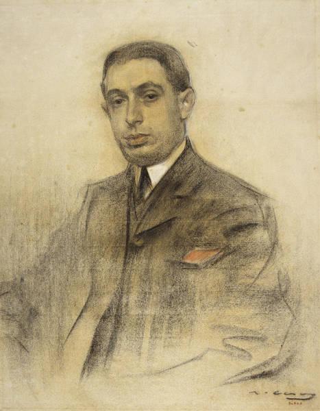 Chestnut Hair Drawing - Portrait Of Anselmo Fernandez by Ramon Casas