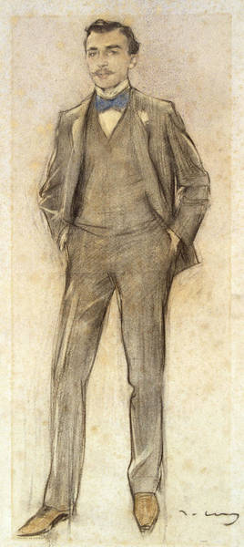 Chestnut Hair Drawing - Portrait Of Antoni Ribera by Ramon Casas