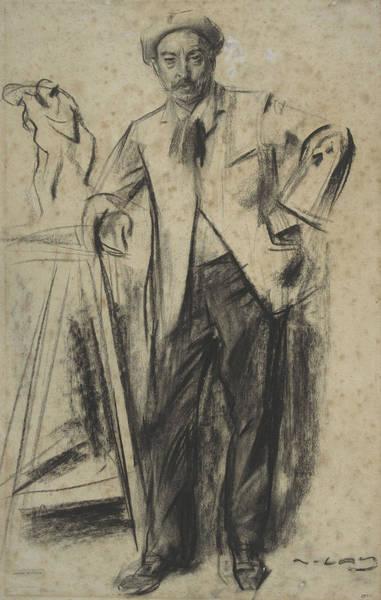 Chestnut Hair Drawing - Portrait Of Antonin Mercie by Ramon Casas