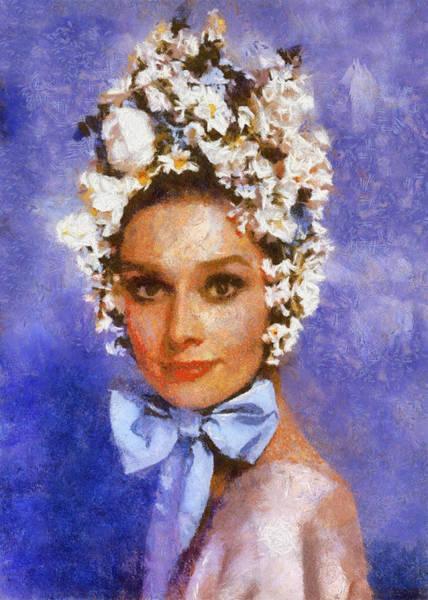 Digital Art - Portrait Of Audrey Hepburn by Charmaine Zoe