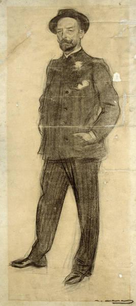 Chestnut Hair Drawing - Portrait Of Baldomer Galofre by Ramon Casas