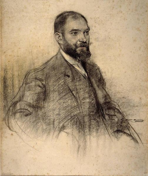 Chestnut Hair Drawing - Portrait Of Bartomeu Amengual by Ramon Casas
