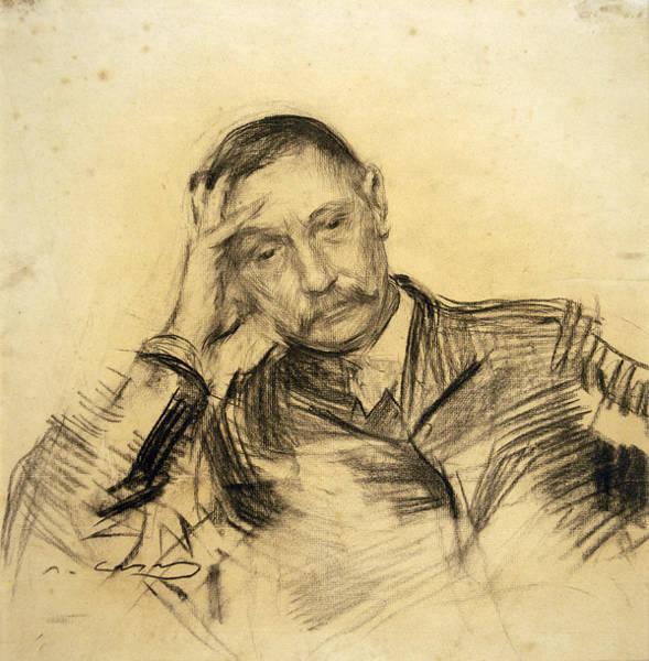 Chestnut Hair Drawing - Portrait Of Benito Perez Galdos by Ramon Casas