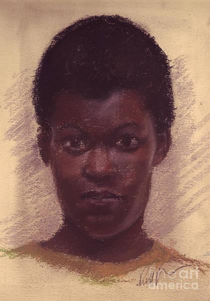 Pastel - Portrait Of Black Girl by Russell Kightley