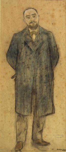 Chestnut Hair Drawing - Portrait Of Bonaventura Bassegoda by Ramon Casas