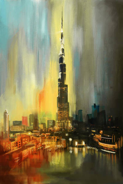 Tall Buildings Painting - Portrait Of Burj Khalifa by Corporate Art Task Force