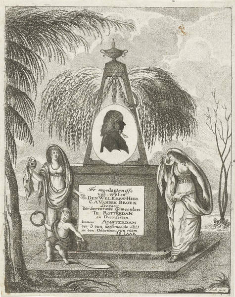 Gravestone Drawing - Portrait Of C.a. Vanden Broeck On A Tomb by Jacob Hugo Hoedt