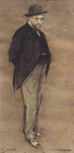 Chestnut Hair Drawing - Portrait Of Carles Gumersind Vidiella by Ramon Casas