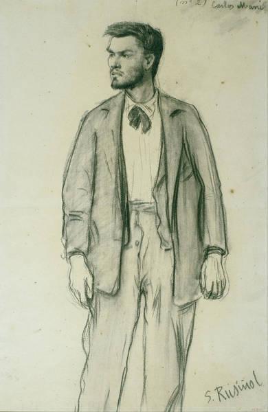 Chestnut Hair Drawing - Portrait Of Carles Mani by Santiago Rusinol