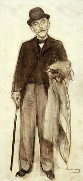 Chestnut Hair Drawing - Portrait Of Carles Pirozzini by Ramon Casas