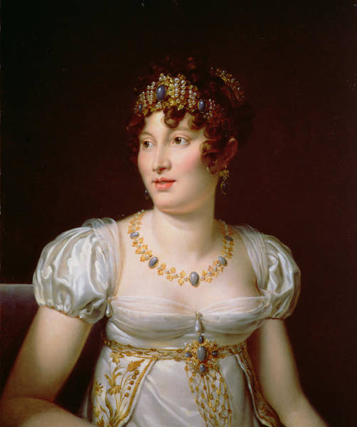 Empire Line Photograph - Portrait Of Caroline Murat Oil On Canvas by Francois Pascal Simon, Baron Gerard