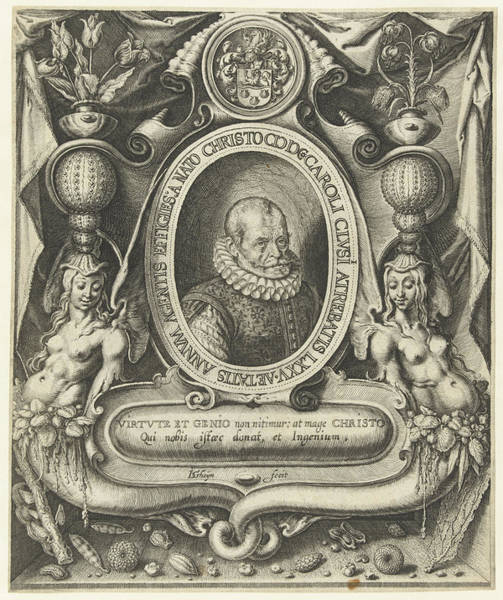 Allegorical Figure Drawing - Portrait Of Carolus Clusius At The Age Of 75 by Jacob De Gheyn (ii)
