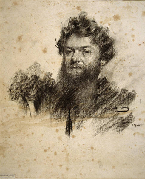 Chestnut Hair Drawing - Portrait Of Charles Cottet by Ramon Casas