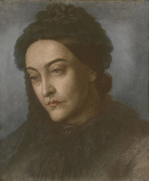 Authors Drawing - Portrait Of Christina Rossetti, Head by Dante Gabriel Charles Rossetti
