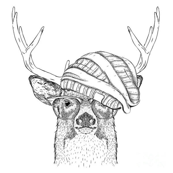 Wall Art - Digital Art - Portrait Of Deer In A Hat. Vector by Sunny Whale