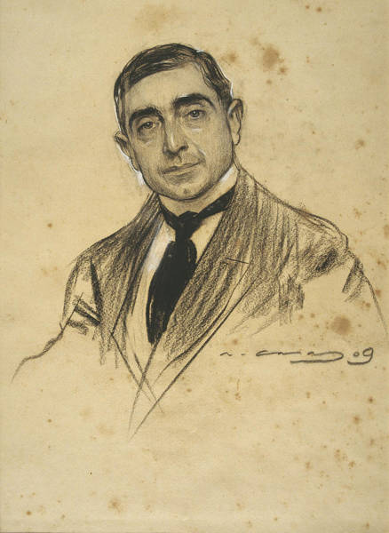 Chestnut Hair Drawing - Portrait Of Dionis Baixeras by Ramon Casas