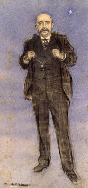 Chestnut Hair Drawing - Portrait Of Dionis Puig by Ramon Casas
