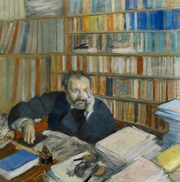 Library Drawing - Portrait Of Edmond Duranty, 1879 by Edgar Degas