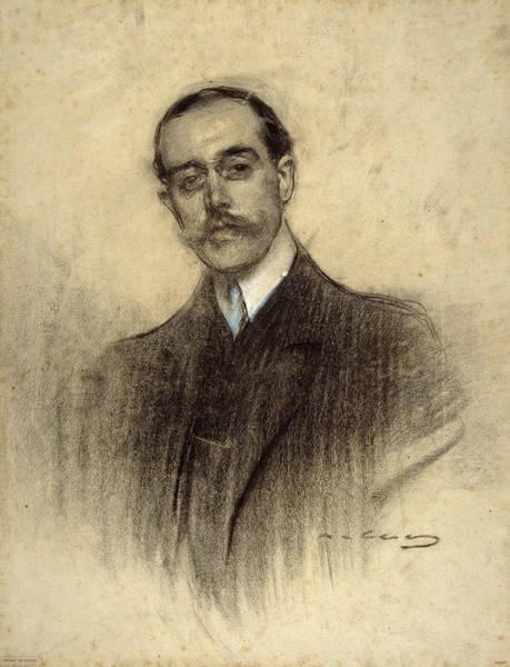 Chestnut Hair Drawing - Portrait Of Eduard Calvet by Ramon Casas