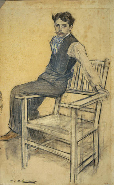Chestnut Hair Drawing - Portrait Of Eduard Marquina by Ramon Casas