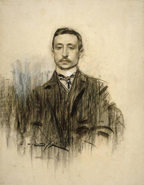 Chestnut Hair Drawing - Portrait Of Eduardo Chicharro by Ramon Casas