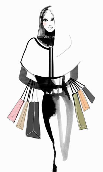 Lifestyles Digital Art - Portrait Of Elegant Woman Carrying by Mette Boesgaard