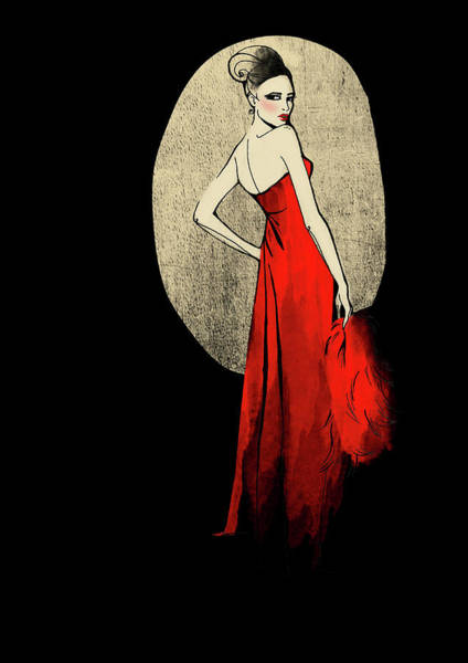 Red Dress Digital Art - Portrait Of Elegant Woman In Red Dress by Susan Hassmann