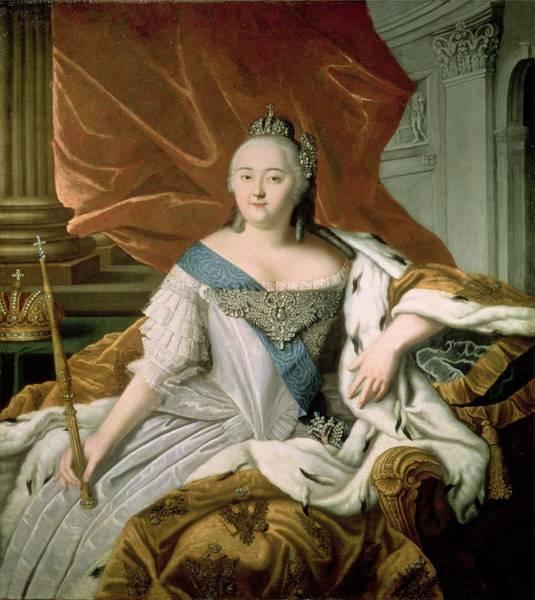 Ermine Wall Art - Photograph - Portrait Of Elizabeth Petrovna 1709-62 Empress Of Russia, C.1750 Oil On Canvas by Russian School
