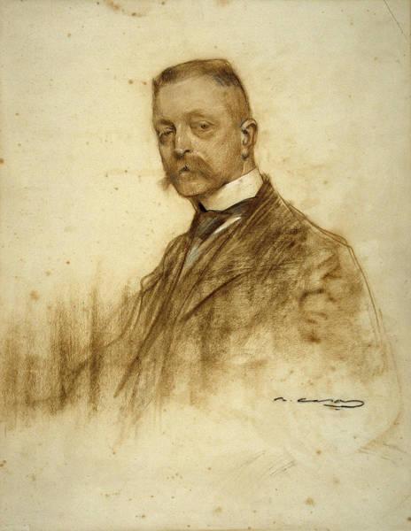 Chestnut Hair Drawing - Portrait Of Emile Bertaux by Ramon Casas