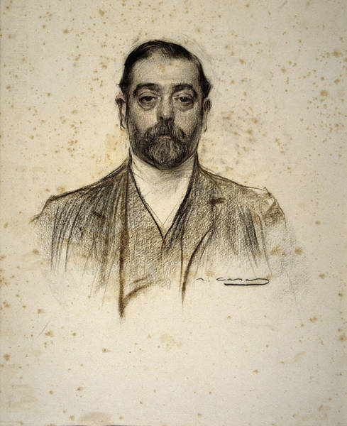 Chestnut Hair Drawing - Portrait Of Emili Cabot by Ramon Casas