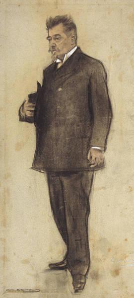 Chestnut Hair Drawing - Portrait Of Emili Vilanova by Ramon Casas