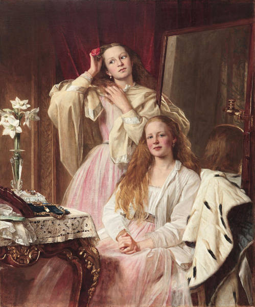Ermine Wall Art - Painting - Portrait Of Emma And Frederica Bankes by Henry Tanworth Wells