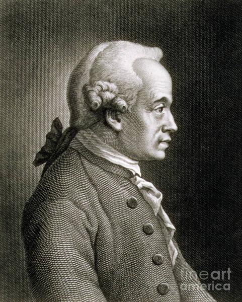 Emmanuel Wall Art - Drawing - Portrait Of Emmanuel Kant by French School
