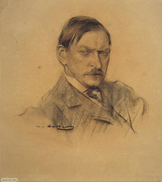 Chestnut Hair Drawing - Portrait Of Enric Galwey by Ramon Casas
